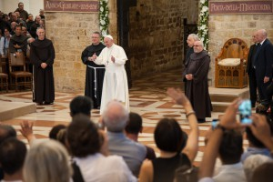 August 05 2016 : Pope Francis greets faithful in Saint Mary of Angels Basilica in the Italian pilgrimage town of Assisi on the occasion of the VIII Centenary of the Pardon of Assisi.